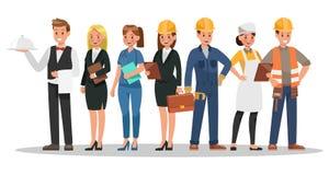 De carrièrekarakters ontwerpen Omvat kelner, onderneemster, ingenieur, arts vector illustratie