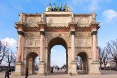 De carrousel van boogde triomphe du in Parijs Stock Afbeeldingen