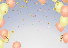 Or de carte de voeux de joyeux anniversaire et templat rose de carte d'anniversaire illustration de vecteur