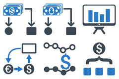 De cash flow brengt Vlakke Glyph-Pictogrammen in kaart Stock Fotografie