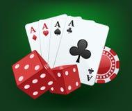 De casinoillustratie met dobbelt, kaarten en spaanders Stock Afbeelding