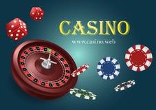 De casinoroulette met spaanders, rood dobbelt realistische het gokken affichebanner Van de het fortuinroulette van casinovegas de stock illustratie