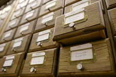 De catalogus van de bibliotheek stock fotografie