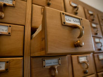 De Catalogus van de Index van de bibliotheek Stock Foto's