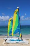 De catamaran van de Hobiekat klaar voor toeristen bij Bavaro-Strand in Punta Cana Stock Fotografie