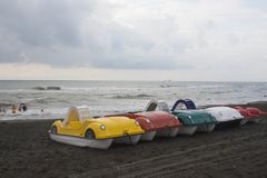 De catamarans van het fotopedaal van verschillende bloemen op het bankoverzees stock foto