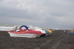 De catamarans van het fotopedaal van verschillende bloemen op het bankoverzees royalty-vrije stock afbeelding