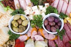 De cateringsschotel van Antipasto Royalty-vrije Stock Afbeeldingen