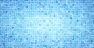 De caustisch middelenrimpeling en stroom van de zwembadbodem met golvenachtergrond De zomerachtergrond Textuur van waterspiegel vector illustratie
