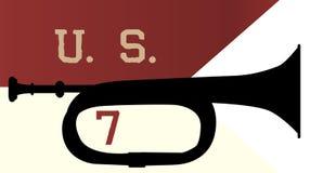 De Cavalerievlag en Bugel van de V.S. zevende vector illustratie