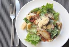 De ceasar salade van de kip in een witte plaat Stock Fotografie
