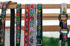 2 de ceintures, peinte et brodée hongrois Images stock