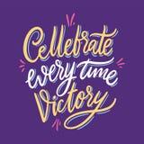 De Cellebrate vitória todas as vezes ilustração do vetor isolada no fundo violeta Rotulação tirada mão do vetor ilustração do vetor