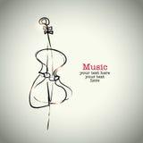 De cello van de Grungetekening met inkt vector illustratie