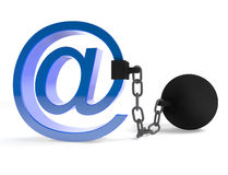 De censuur van E-mail Stock Foto's