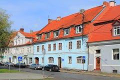 De centrale bibliotheek van Ozyorsk in het oude Duitse gebouw Stock Foto's
