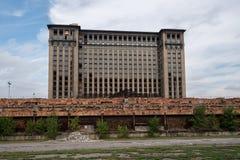 De Centrale Post van Michigan, Achtergedeelte, Vensters Stock Afbeeldingen
