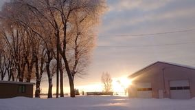 De centrale sneeuwzonsondergang van Oregon royalty-vrije stock foto's
