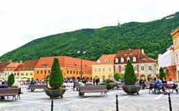 De centrale vierkante stad Roemenië van meningsbrasov Royalty-vrije Stock Fotografie