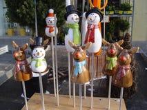De ceramische pop van sneeuwman raindeer Kerstmis Royalty-vrije Stock Foto's