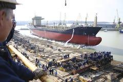 De ceremonie van de lancering van een schip Stock Foto
