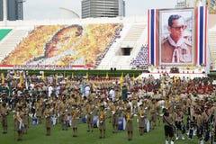De ceremonie van de ThaiScouteed, het marcheren band Royalty-vrije Stock Afbeelding