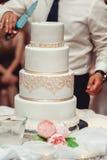 De ceremonie van het huwelijk de bruid en de bruidegom maken hun eerste geval samen, snijden de huwelijkscake royalty-vrije stock foto's