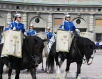 De ceremonie van het veranderen van de Koninklijke Wacht in Stockholm, Zweden Royalty-vrije Stock Foto's