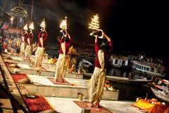 De ceremonie van Seva Nidhi van Ganga in Varanasi Stock Afbeelding