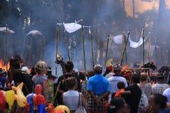 De ceremonie van de traditiecrematie in Bali stock fotografie