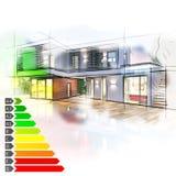 De certificatie van de villaenergie vector illustratie