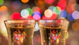 De champagne en het vuurwerk van de fles Stock Fotografie