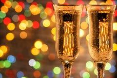 De champagne en het vuurwerk van de fles Royalty-vrije Stock Fotografie