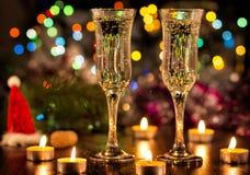De champagne en het vuurwerk van de fles Stock Afbeelding