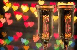 De champagne en het vuurwerk van de fles Stock Foto