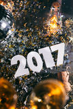 ` 2017 de Champagne New Year s Eve Grunge Background Fotografía de archivo