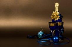 De champagne van het nieuwjaar Stock Foto