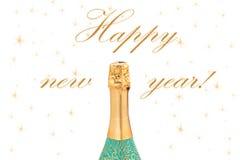 De champagne van de nieuwjaarviering op witte backg Stock Foto's