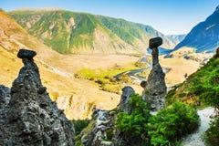 ` De champignons de pierre de ` de formations de roche dans Altai, Sibérie, Russie Photos libres de droits