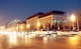De changan weg van Peking bij nacht Stock Fotografie