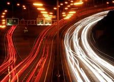 De chaos van het verkeer bij nacht. royalty-vrije stock foto