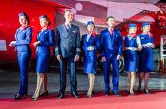 De charmante Stewardess en de beheerders kleedden zich in Eenvormig Rusland, heilige-Petersburg 23 November, 2017 stock foto's