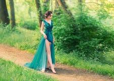 De charmante zachte engel daalde van hemel en loopt voorzichtig langs bosweg leuke prinses in lange elegante elegant stock fotografie