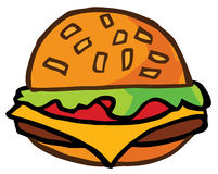 De Cheeseburger van het beeldverhaal Stock Fotografie