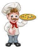 De Chef-kok Character Mascot van de beeldverhaalpizza Royalty-vrije Stock Foto's