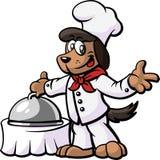 De Chef-kok die van de hond Zijn Schotel voorstelt Royalty-vrije Stock Afbeeldingen