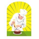 De chef-kok die van het gebakje suikerglazuur op cake zet Royalty-vrije Stock Fotografie