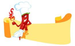 De chef-kok en de banner van de Spaanse peper Stock Afbeeldingen