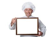 Chef-kok op witte achtergrond wordt geïsoleerd die Royalty-vrije Stock Afbeeldingen