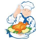 De chef-kok houdt een schotel met gebraden kip Stock Fotografie